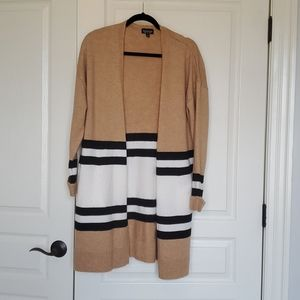 Long colorblock cardigan